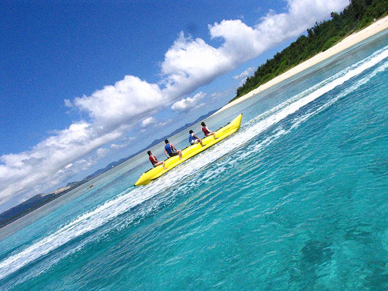 【夏季】水納島海水浴ボートシュノーケル&マリン2品プラン